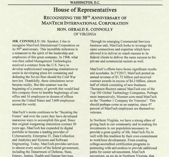 Connolly Congressional Record recoginizing the 50th anniversary of ManTech International Corporation