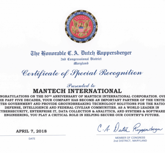 Ruppersberger Congressional Recognition Certificate on the 50th Anniversary of ManTech International Corporation